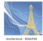 Stock vector eiffel tower use with or without funky background 8066968