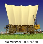 Raster version of vector illustration with a Wild West covered wagon in prairie against the background of a flock of horses - stock photo
