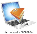 Book icon coming out of laptop screen concept for ebooks, reader apps,  online database, elearning. - stock vector