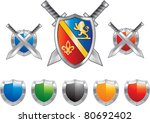 shields and swords in various... | Shutterstock .eps vector #80692402