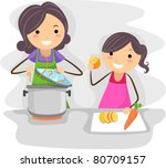 illustration of a mother and... | Shutterstock .eps vector #80709157