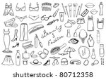 beauty and fashion items vector set - stock vector
