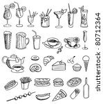 food and drink vector set - stock vector