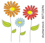 isolated hand drawn flowers... | Shutterstock .eps vector #80713696