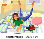 the girl reads the book | Shutterstock .eps vector #8071414