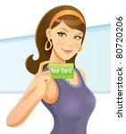 pretty girl holding card | Shutterstock .eps vector #80720206