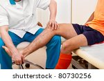 doctor testing a knee for... | Shutterstock . vector #80730256