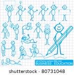 set of funny cartoon little man ... | Shutterstock .eps vector #80731048