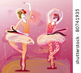 cute ballet dancers performing | Shutterstock .eps vector #80741935