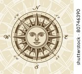 Vintage Sun Compass Rose. Vector