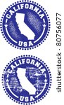California State USA Distressed Stamps - stock vector