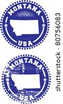 Montana State USA Distressed Stamps - stock vector