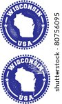 Wisconsin State USA Distressed Stamps - stock vector
