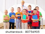 group classmates standing in a... | Shutterstock . vector #80756905