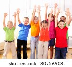 group classmates standing in a... | Shutterstock . vector #80756908