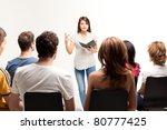 young pretty woman teaching a... | Shutterstock . vector #80777425