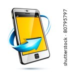 cellphone and blue arrow icon   Shutterstock .eps vector #80795797