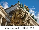 stone lion sculpture guarding... | Shutterstock . vector #80804611