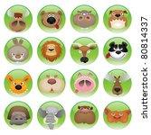 cartoon animals shiny icon set