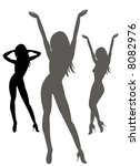silhouettes of sexy females on... | Shutterstock .eps vector #8082976