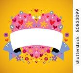 floral heart ribbon - stock vector