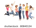young group of casual  smiling... | Shutterstock . vector #80840134