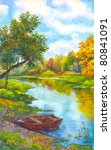 Watercolor Landscape. An Old...