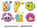 vector illustration  set of sea ... | Shutterstock .eps vector #80844781