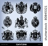 engraving vintage coat of arms... | Shutterstock .eps vector #80845321