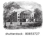 College of Arts, University of Kentucky, Lexington, vintage engraved illustration. Trousset encyclopedia (1886 - 1891). - stock vector