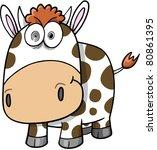 Crazy Insane Cow Vector Illustration - stock vector