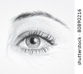 EYE / Realistic sketch of beautiful woman eye