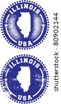 Illinois USA Stamps - stock vector