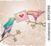 pretty birds holding love... | Shutterstock .eps vector #80913988