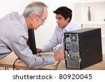 man wiring computer | Shutterstock . vector #80920045
