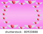 floating heart wings on a pink... | Shutterstock . vector #80920888
