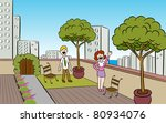 people in a garden on the roof... | Shutterstock .eps vector #80934076