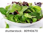mixed fresh salad leaves - stock photo