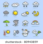 hand drawn  color  weather icon