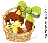 Stock vector kitty in basket with ribbon 80944621
