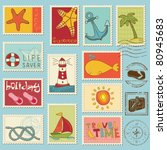 sea elements   vector stamp... | Shutterstock .eps vector #80945683