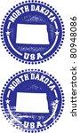 North Dakota USA Stamps - stock vector