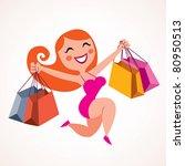 pretty girl shopping | Shutterstock .eps vector #80950513