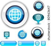 earth vector glossy icons. | Shutterstock .eps vector #80963647