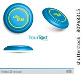 3d View Of Blue Icon Frisbee...