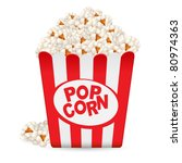 popcorn in a striped tub.... | Shutterstock .eps vector #80974363