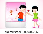 illustration of boy proposing... | Shutterstock .eps vector #80988226