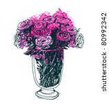 roses bouquet in big beauty...   Shutterstock .eps vector #80992342