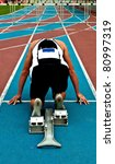 man in a start block on an... | Shutterstock . vector #80997319