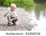 Cute Five Year Old Boy Throwing ...
